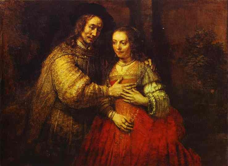 Rembrandt: A zsidó menyasszony (1666 vagy 1668; olaj, vászon; 121,5x166,5 cm; Amszterdam, Rijksmuseum)