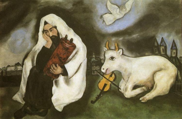 Marc Chagall: Magány (1933; olaj, vászon; 102x169 cm; Museum of Art, Tel-Aviv)