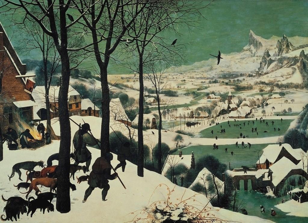 Id. Pieter Bruegel: Vadászok a hóban (1565; olaj, farost; 117x162 cm; Kunsthistorisches Museum, Bécs)