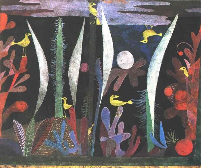 Paul Klee: Táj sárga madarakkal (1923; akvarell, gouache, fekete alapozású karton; 27x35 cm; Bázel, magántulajdon)