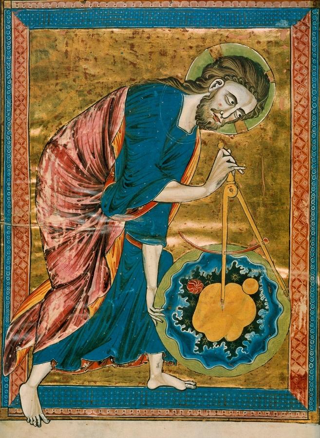 Isten mint geométer (Bible Moralisée, Codex Vindobonesis 2554. sz., 1220–1230; Österreichische Nationalbibliothek, Bécs)