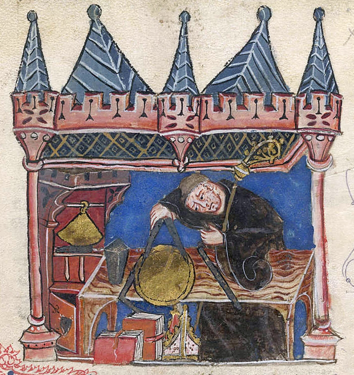 Richard of Wallingford egy XIV. századi miniatúrán