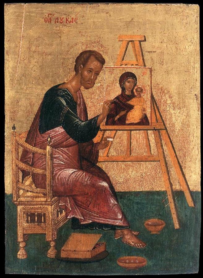 Az Isten-Anyát festő Lukács (1400 k.; tojástempera, fa; 26×18 cm; Ikonen-Museum, Recklinghausen)