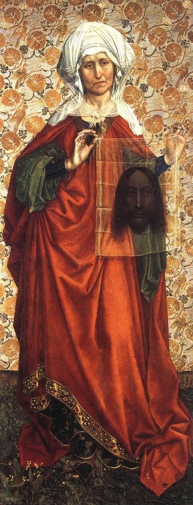 Robert Campin: Szent Veronika (1430 k. olaj, vászon; 148,2×57,7 cm; Frankfurt, Staedelsches Kunstinstitute)