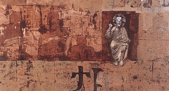 Ország Lili: Románkori Krisztus (olaj, farost; 80×50 cm, 1969; magántulajdon)