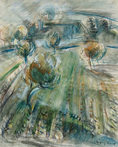 Egry József: Balatonfelvidéki táj (Forrás: Deák Gyűjtemény)