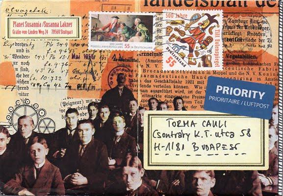 Lakner Zsuzsa mail art lapja Torma Caulinak, 2011