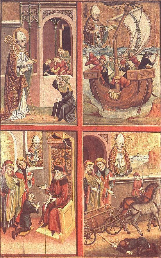 Szent Miklós legendájának jelenetei a Jánosréti oltáron, XV. század