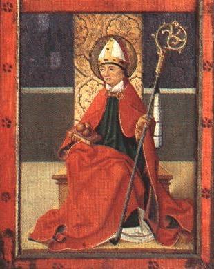 Szent Miklós a nagytótlaki plébániatemplomból származó oltárképen, XV. század