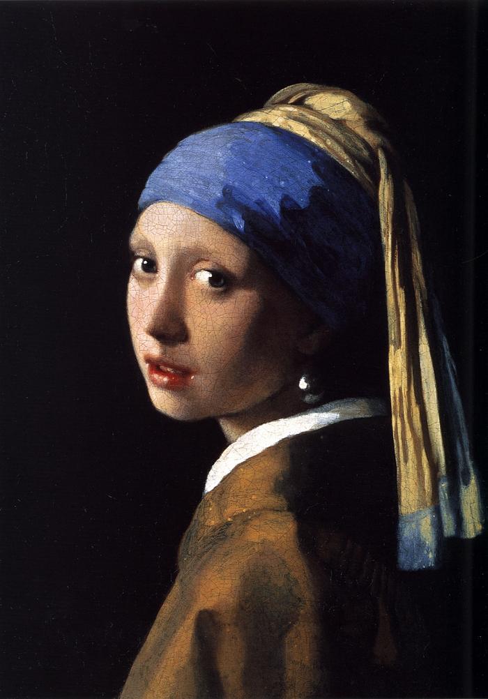 Jan Vermeer van Delft: Leány gyöngy fülbevalóval (1665; olaj, vászon; 44,5×39 cm; Mauritshuis, Hága)