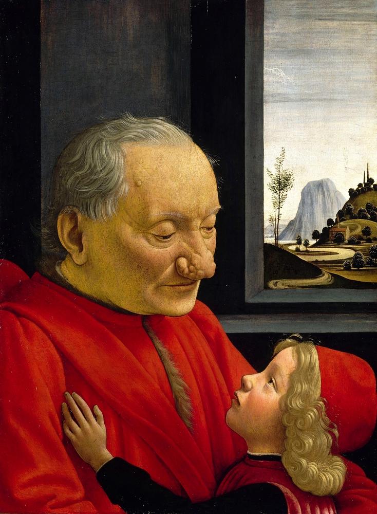 Domenico Ghirlandaio: Nagyapa az unokájával (1490., tempera, fa; 62×46 cm; Louvre, Párizs)