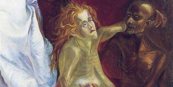 Otto Dix: Idős szerelmespár (1923, olaj, vászon, 152x100 cm, Staatliche Museen, Berlin)