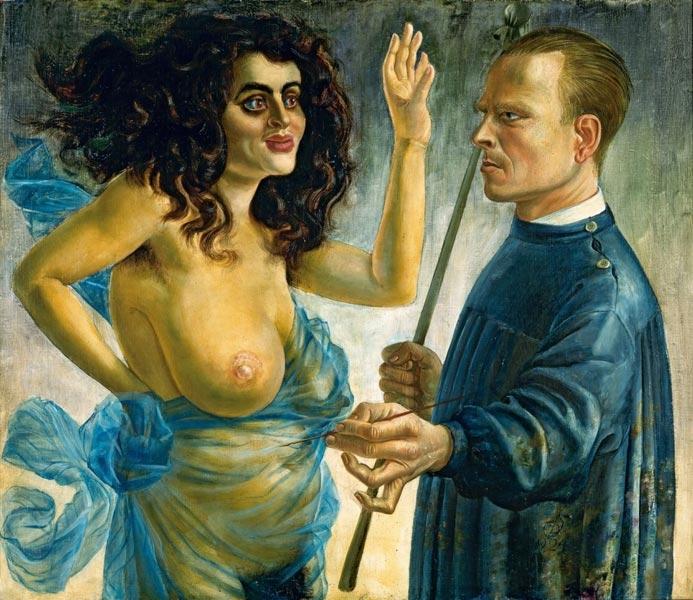 Otto Dix: Önarckép múzsával, 1924