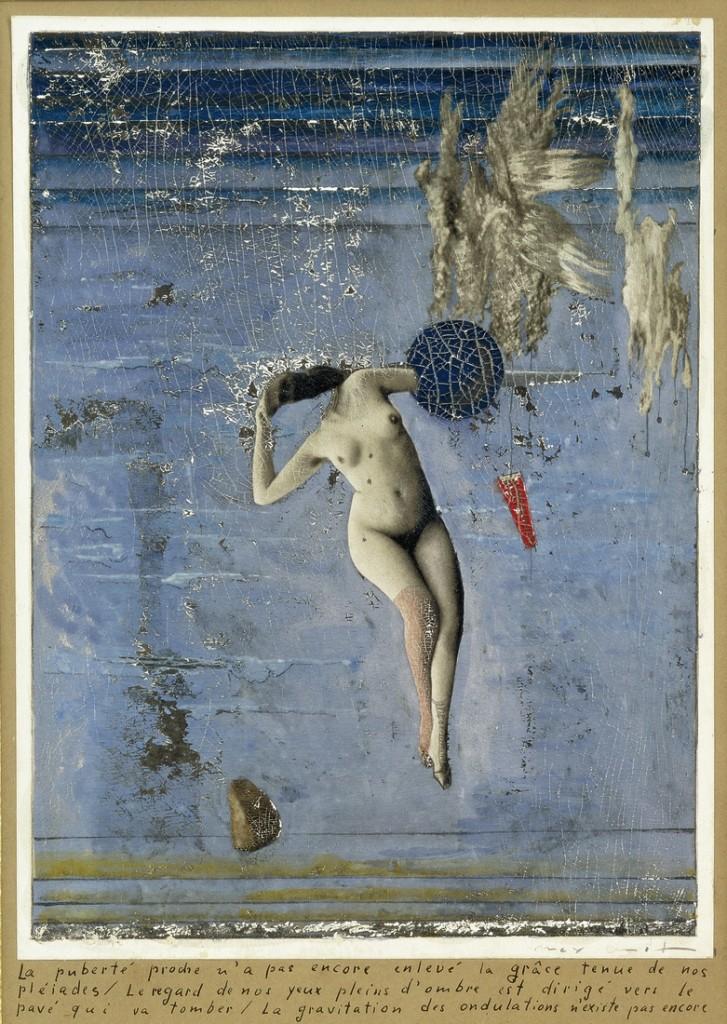 Max Ernst: A pubertás közeledik, avagy a Plejádok (1921, vegyes technika, gouache, olaj, fotográfia, papír a kartonon, 24,5x16,6 cm, magántulajdon, Párizs)