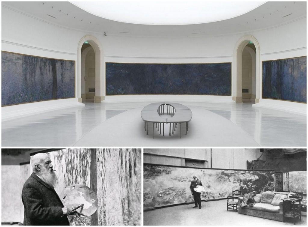 A Musée de l'Orangerie egyik terme, illetve Monet munka közben Givernyben