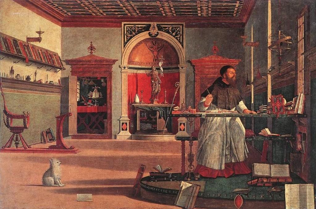 Vittore Carpaccio: Szent Ágoston a stúdióban (1502, vászon, tempera; 141x211 cm; Scuola di San Giorgio degli Schiavoni, Velence)