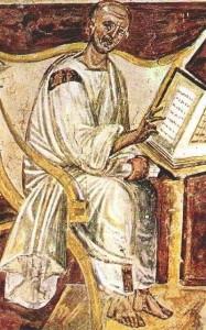 Szent Ágoston - ismeretlen szerző freskója a Laterán könyvtárában, 600 körül