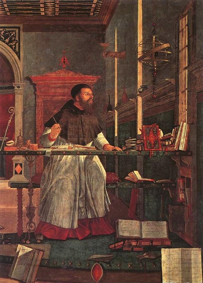 Vittore Carpaccio: Szent Ágoston a stúdióban (részlet)
