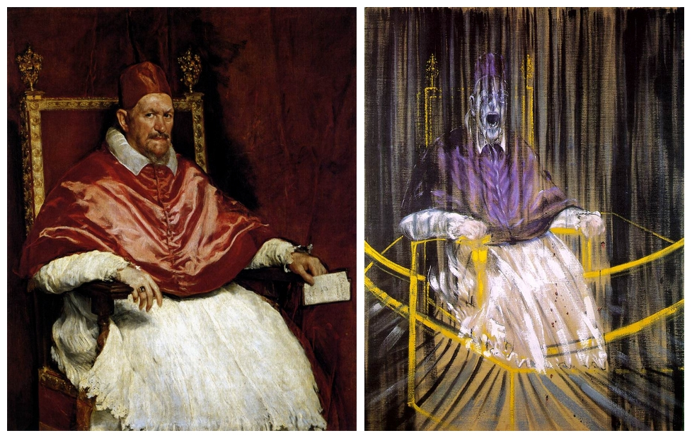 Diego Velázquez: X. Innocent pápa, 1650 - Francis Bacon: X. Innocent pápa, 1953