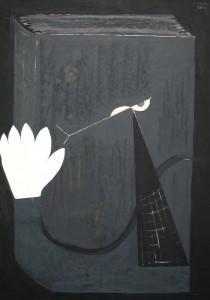 Mózes Katalin: Búcsúzó könyv (olaj, karton; 2008)