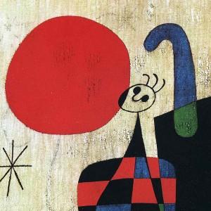 Joan Miró: Alakok és kutya a Nap előtt (részlet)
