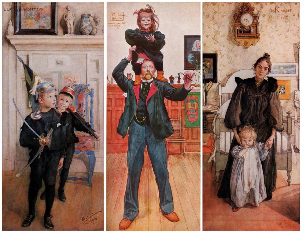 Carl Larsson: Ulf és Pontus (1894); Brita és én (1895); (Karin és Kersti (1898)