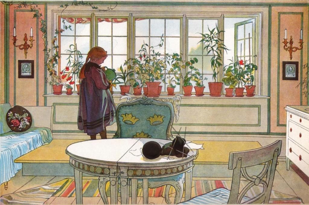 Carl Larsson: Virágok az ablakpárkányon, 1894