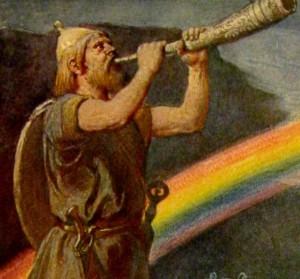 Emil Doepler: Heimdall a szivárványhídnál a kürtjét fújja (1905)