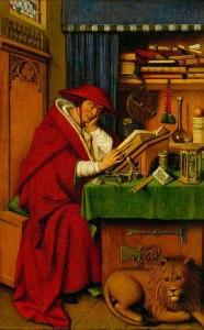 Szent Jeromos a dolgozószobájában (Jan van Eyck műhelyéből, 1442; Detroit Institute of Arts)