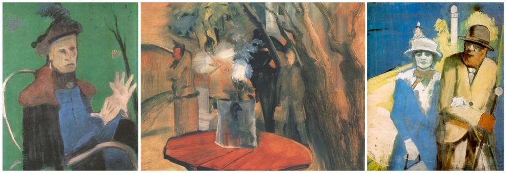 Farkas István festményei: Kesztyűs nő (1931); Történt valami? (1941); Végzet (1934)