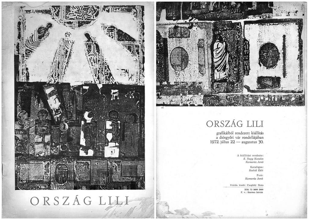 A diósgyőri Ország Lili-kiállítás katalógusának címlapja és hátlapja, 1972