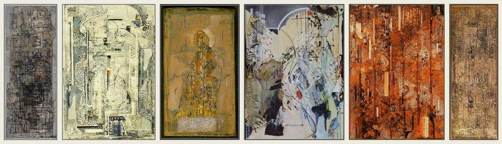Képek a kiállításról – Fischer Ernő (1973), Kölűs Judit (1989), Bíró Judit (1989), T. Horváth Éva (1992), Csengery Béla (1990) és Alföldi László (1989) munkái