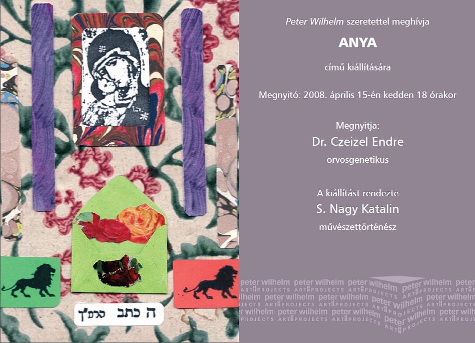 Anya - Manna Galéria, 2008 (a meghívó részlete, Szenes Zsuzsa munkájával)