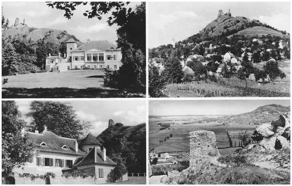Szigliget, 1964: Írói Alkotóház; látkép a várral; Írói Alkotóház; kilátás a várból (Forrás: egykor.hu)