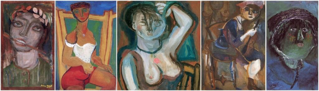 Anna Margit festményei: Önarckép (1937); Önarckép fürdőruhában (1939); Fésűs önarckép (1940 körül); Önarckép (1946); Önarckép (1966) (Forrás: hung-art.hu)