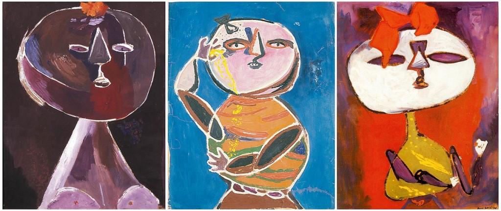 Anna Margit festményei: Fej (1946); Gondolkodó (1948); Bábu (1948)