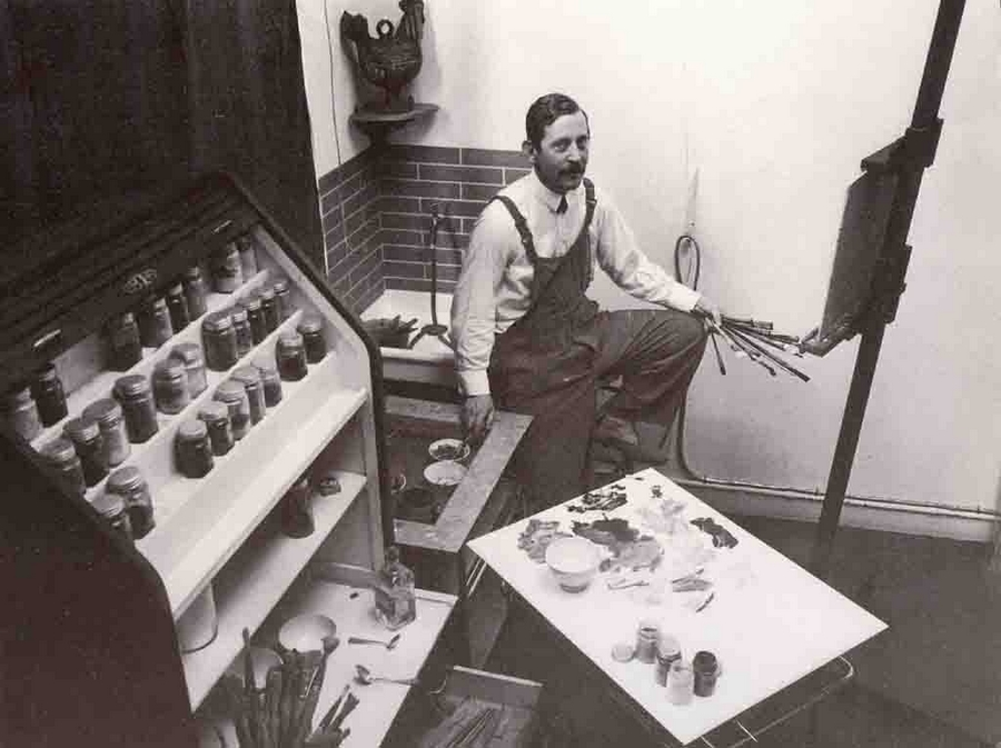 Farkas István párizsi műtermében, 1932 (Forrás: S. Nagy Katalin: Farkas István; monográfia)