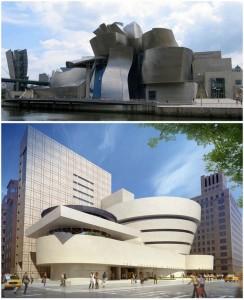 A Guggenheim Múzeum épülete Bilbaóban (fent), illetve New Yorkban