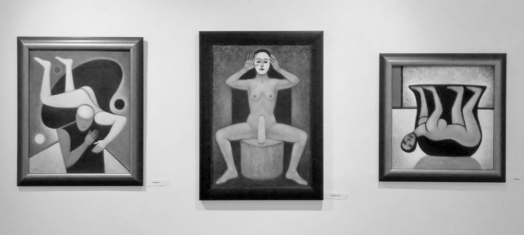 Eőry Emil kiállításának részlete: Kettősség, Termékenység, Zártság (Forrás: Look Gallery)