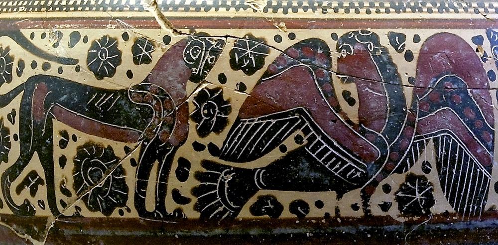 Korinthoszi váza részlete oroszlánnal és hárpiával