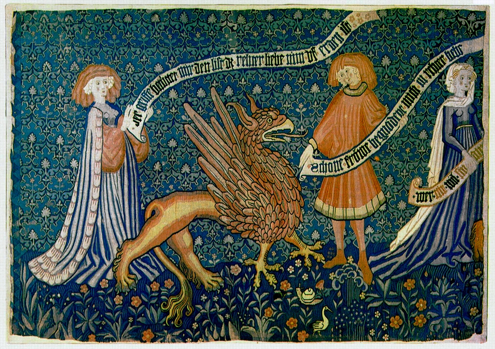 Griff-ábrázolás egy XV. századi bázeli gobelinen