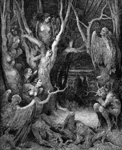 Gustave Doré metszete az Isteni színjátékhoz, hárpiákkal