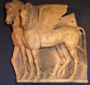 Pegazust ábrázoló domborműves kőtábla Tarquiniából