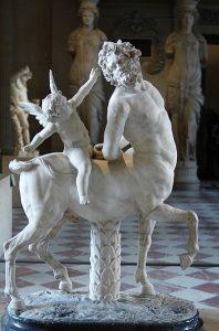 Erósz látható egy kentaur hátán