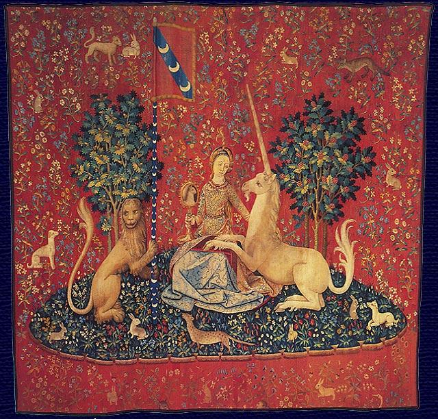 Hölgy az egyszarvúval - Látás (gótikus faliképsorozat részlete)