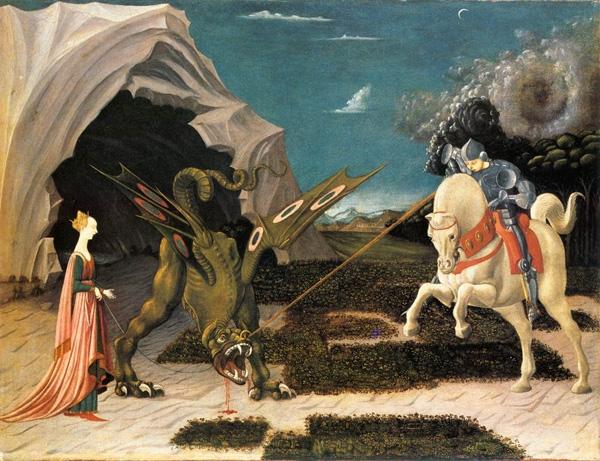 Paolo Uccello festménye Szent György és a sárkány küzdelméről
