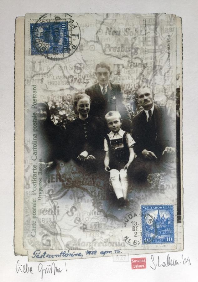 Susanna Lakner: Liebe Grüße, 2004 (a kollázs a Hoffmann családi archívum fotójának felhasználásával készült)