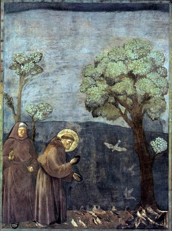 Giotto de Bondone: Szent Ferenc prédikál a madaraknak, 1320-30
