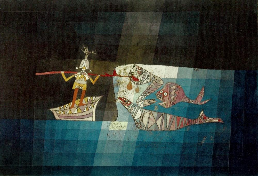 Paul Klee: Szindbád a tengeren (1923, akvarell, olaj, papír, 38x51 cm; Frau Trix Dürst-Haas gyűjteményében, Muttenz)