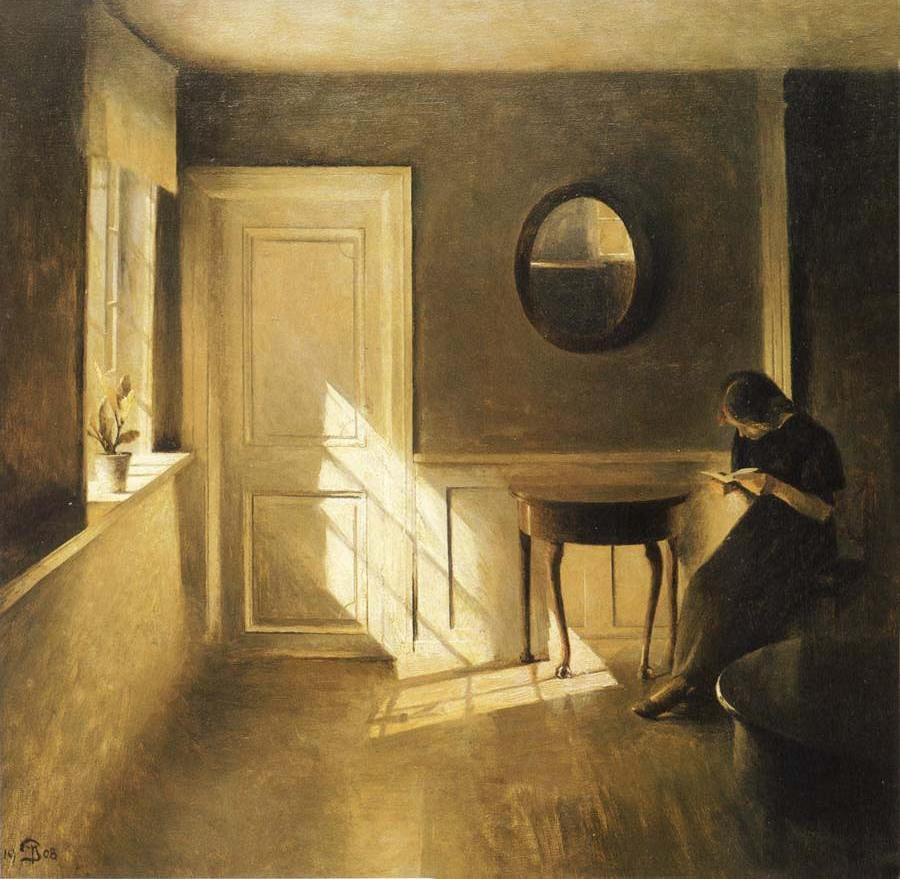 Peter Ilsted: Olvasó lány szobabelsőben (1908, olaj, vászon, magántulajdon)